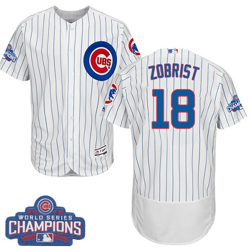 Men's Majestic Chicago Cubs #18 Ben Zobrist White 2016 World Series Champions Flexbase Authentic Collection MLB Jersey
