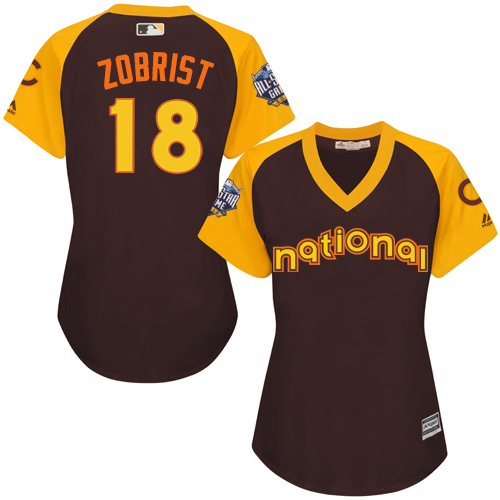 Women's Majestic Chicago Cubs #18 Ben Zobrist Authentic Brown 2016 All-Star National League BP Cool Base MLB Jersey