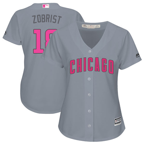 Women's Majestic Chicago Cubs #18 Ben Zobrist Authentic Grey Mother's Day Cool Base MLB Jersey