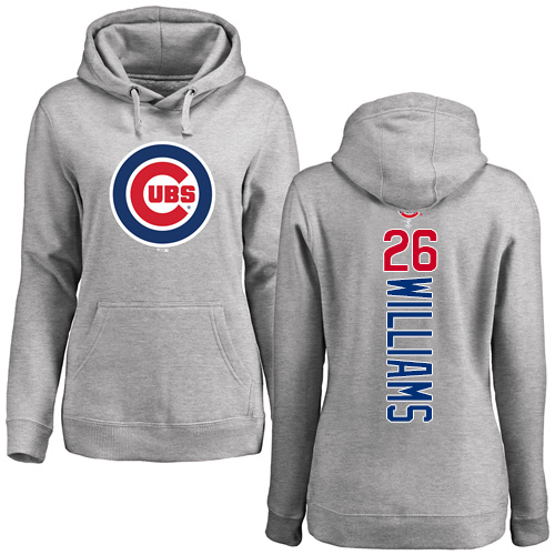 MLB Women's Nike Chicago Cubs #26 Billy Williams Ash Backer Pullover Hoodie