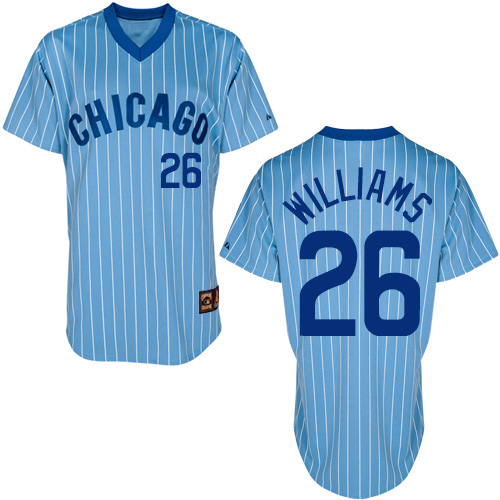 Men's Majestic Chicago Cubs #26 Billy Williams Authentic Blue/White Strip Cooperstown Throwback MLB Jersey