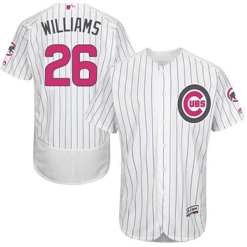 Men's Majestic Chicago Cubs #26 Billy Williams Authentic White 2016 Mother's Day Fashion Flex Base MLB Jersey