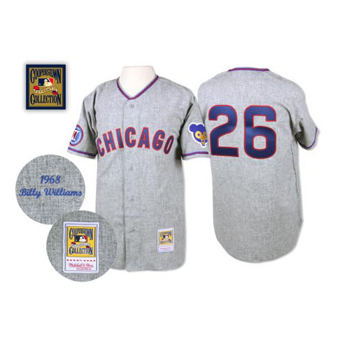 Men's Mitchell and Ness 1968 Chicago Cubs #26 Billy Williams Replica Grey Throwback MLB Jersey