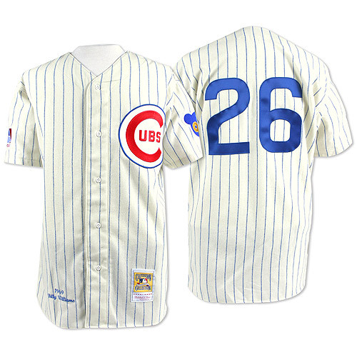 Men's Mitchell and Ness Chicago Cubs #26 Billy Williams Replica Cream 1969 Throwback MLB Jersey