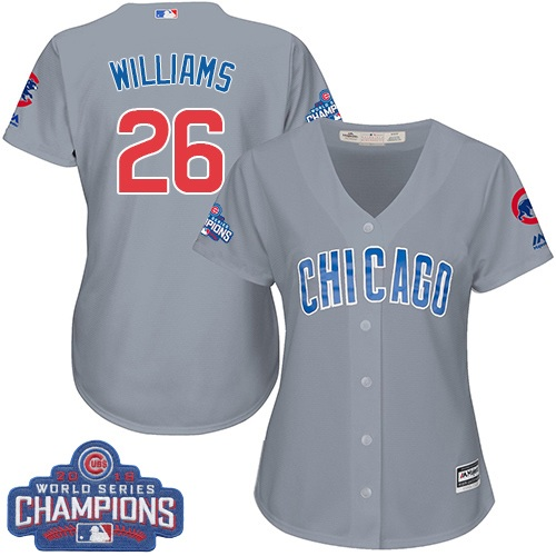 Women's Majestic Chicago Cubs #26 Billy Williams Authentic Grey Road 2016 World Series Champions Cool Base MLB Jersey