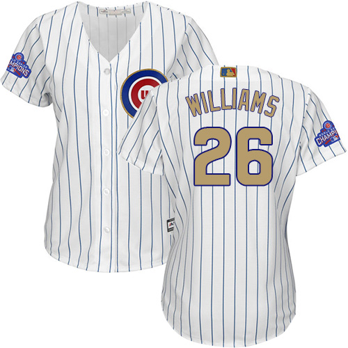 Women's Majestic Chicago Cubs #26 Billy Williams Authentic White 2017 Gold Program MLB Jersey