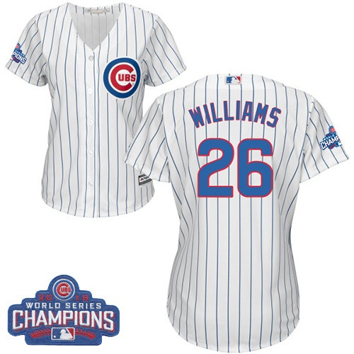 Women's Majestic Chicago Cubs #26 Billy Williams Authentic White Home 2016 World Series Champions Cool Base MLB Jersey