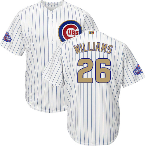 Youth Majestic Chicago Cubs #26 Billy Williams Authentic White 2017 Gold Program Cool Base MLB Jersey