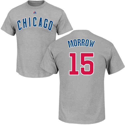 MLB Nike Chicago Cubs #15 Brandon Morrow Gray Name & Number T-Shirt