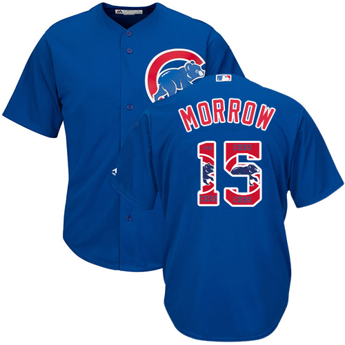 Men's Majestic Chicago Cubs #15 Brandon Morrow Authentic Royal Blue Team Logo Fashion Cool Base MLB Jersey