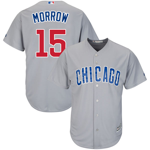 Men's Majestic Chicago Cubs #15 Brandon Morrow Replica Grey Road Cool Base MLB Jersey