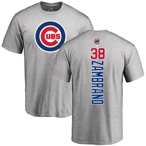 MLB Nike Chicago Cubs #38 Carlos Zambrano Ash Backer T-Shirt
