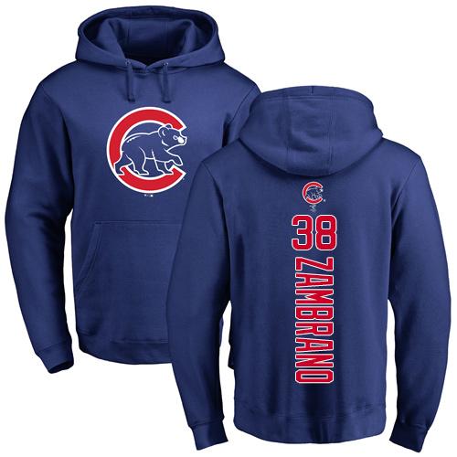 MLB Nike Chicago Cubs #38 Carlos Zambrano Royal Blue Backer Pullover Hoodie
