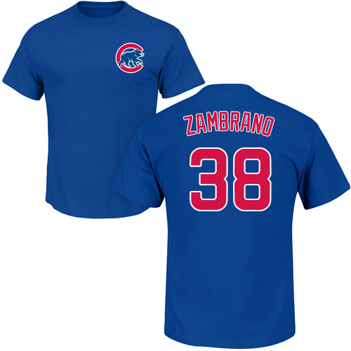 MLB Nike Chicago Cubs #38 Carlos Zambrano Royal Blue Name & Number T-Shirt