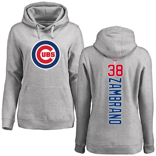 MLB Women's Nike Chicago Cubs #38 Carlos Zambrano Ash Backer Pullover Hoodie