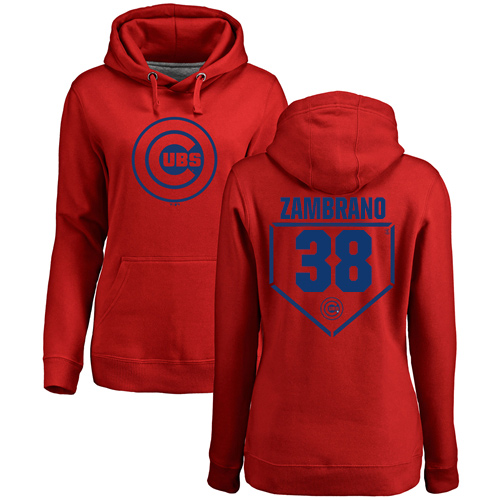 MLB Women's Nike Chicago Cubs #38 Carlos Zambrano Red RBI Pullover Hoodie