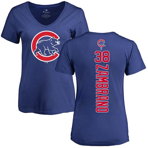 MLB Women's Nike Chicago Cubs #38 Carlos Zambrano Royal Blue Backer T-Shirt