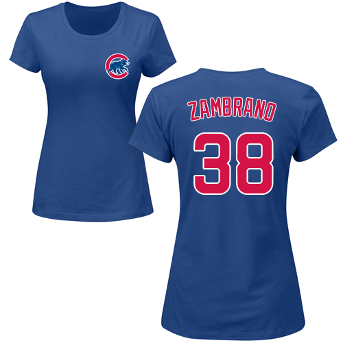 MLB Women's Nike Chicago Cubs #38 Carlos Zambrano Royal Blue Name & Number T-Shirt