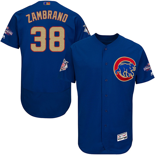 Men's Majestic Chicago Cubs #38 Carlos Zambrano Authentic Royal Blue 2017 Gold Champion Flex Base MLB Jersey