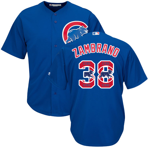 Men's Majestic Chicago Cubs #38 Carlos Zambrano Authentic Royal Blue Team Logo Fashion Cool Base MLB Jersey