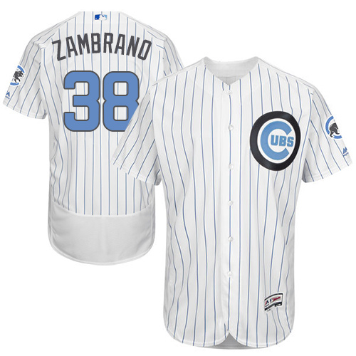 Men's Majestic Chicago Cubs #38 Carlos Zambrano Authentic White 2016 Father's Day Fashion Flex Base MLB Jersey