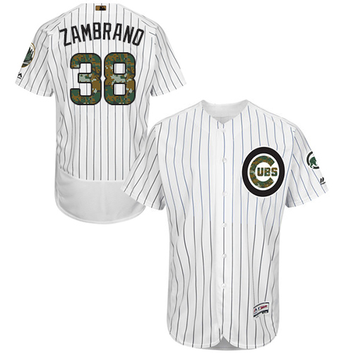 Men's Majestic Chicago Cubs #38 Carlos Zambrano Authentic White 2016 Memorial Day Fashion Flex Base MLB Jersey
