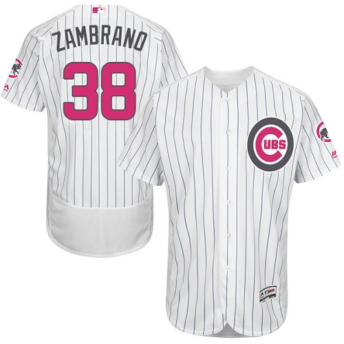 Men's Majestic Chicago Cubs #38 Carlos Zambrano Authentic White 2016 Mother's Day Fashion Flex Base MLB Jersey