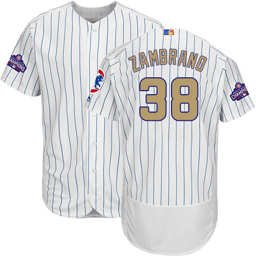 Men's Majestic Chicago Cubs #38 Carlos Zambrano Authentic White 2017 Gold Program Flex Base MLB Jersey