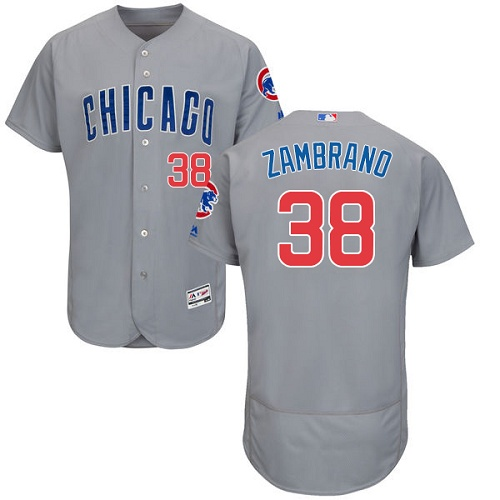 Men's Majestic Chicago Cubs #38 Carlos Zambrano Grey Road Flex Base Authentic Collection MLB Jersey