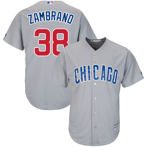Men's Majestic Chicago Cubs #38 Carlos Zambrano Replica Grey Road Cool Base MLB Jersey