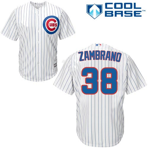 Men's Majestic Chicago Cubs #38 Carlos Zambrano Replica White Home Cool Base MLB Jersey