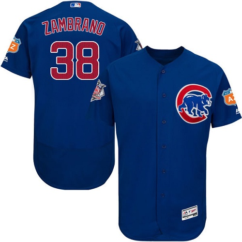 Men's Majestic Chicago Cubs #38 Carlos Zambrano Royal Blue Alternate Flex Base Authentic Collection MLB Jersey