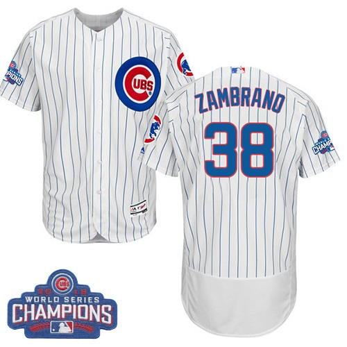 Men's Majestic Chicago Cubs #38 Carlos Zambrano White 2016 World Series Champions Flexbase Authentic Collection MLB Jersey