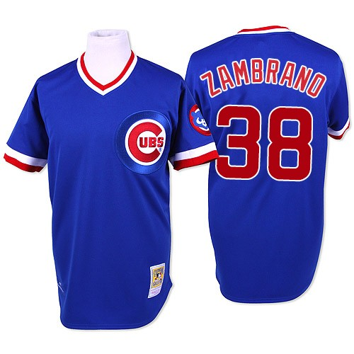 Men's Mitchell and Ness Chicago Cubs #38 Carlos Zambrano Authentic Blue Throwback MLB Jersey
