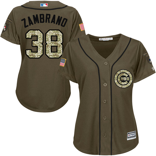 Women's Majestic Chicago Cubs #38 Carlos Zambrano Authentic Green Salute to Service MLB Jersey