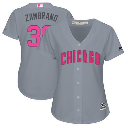 Women's Majestic Chicago Cubs #38 Carlos Zambrano Authentic Grey Mother's Day Cool Base MLB Jersey