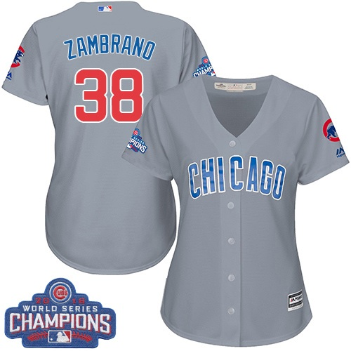 Women's Majestic Chicago Cubs #38 Carlos Zambrano Authentic Grey Road 2016 World Series Champions Cool Base MLB Jersey