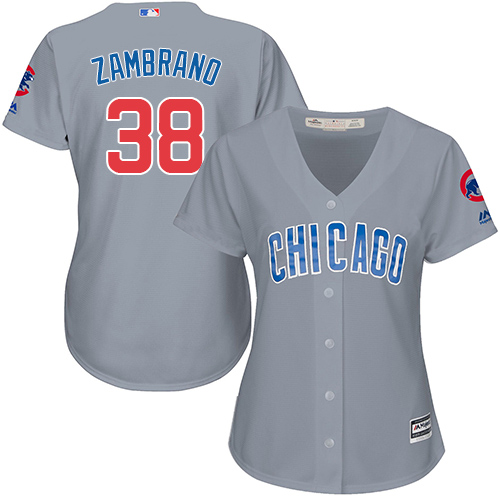 Women's Majestic Chicago Cubs #38 Carlos Zambrano Authentic Grey Road MLB Jersey