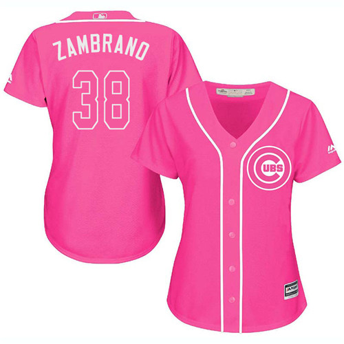 Women's Majestic Chicago Cubs #38 Carlos Zambrano Authentic Pink Fashion MLB Jersey