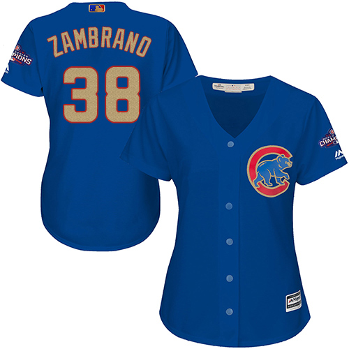 Women's Majestic Chicago Cubs #38 Carlos Zambrano Authentic Royal Blue 2017 Gold Champion MLB Jersey