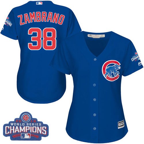 Women's Majestic Chicago Cubs #38 Carlos Zambrano Authentic Royal Blue Alternate 2016 World Series Champions Cool Base MLB Jersey
