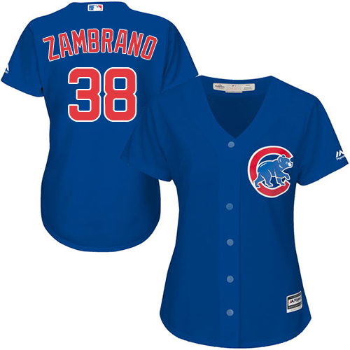 Women's Majestic Chicago Cubs #38 Carlos Zambrano Authentic Royal Blue Alternate MLB Jersey