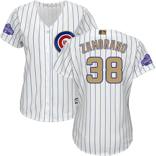 Women's Majestic Chicago Cubs #38 Carlos Zambrano Authentic White 2017 Gold Program MLB Jersey