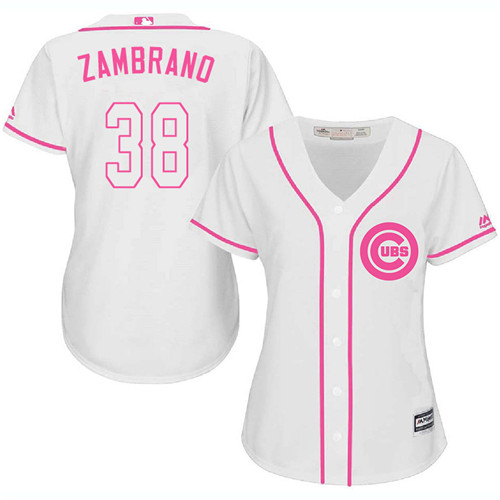 Women's Majestic Chicago Cubs #38 Carlos Zambrano Authentic White Fashion MLB Jersey