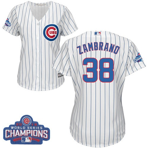Women's Majestic Chicago Cubs #38 Carlos Zambrano Authentic White Home 2016 World Series Champions Cool Base MLB Jersey