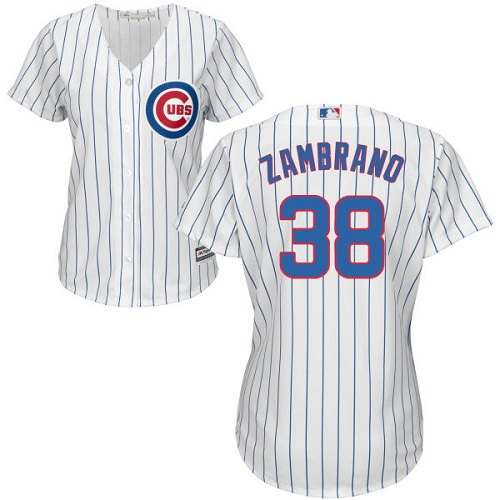 Women's Majestic Chicago Cubs #38 Carlos Zambrano Authentic White Home Cool Base MLB Jersey