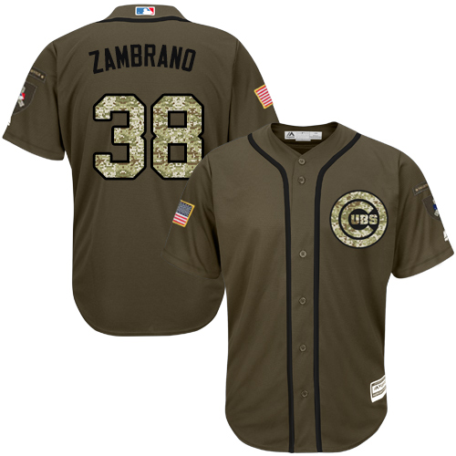 Youth Majestic Chicago Cubs #38 Carlos Zambrano Authentic Green Salute to Service MLB Jersey