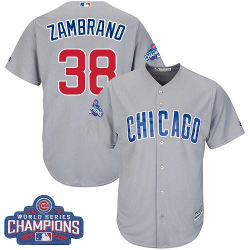 Youth Majestic Chicago Cubs #38 Carlos Zambrano Authentic Grey Road 2016 World Series Champions Cool Base MLB Jersey