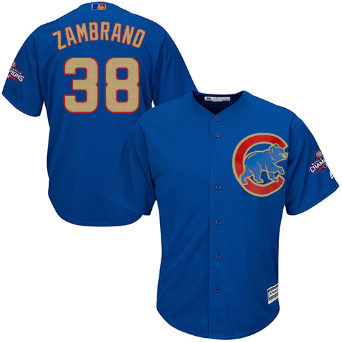 Youth Majestic Chicago Cubs #38 Carlos Zambrano Authentic Royal Blue 2017 Gold Champion Cool Base MLB Jersey