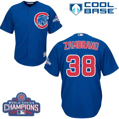 Youth Majestic Chicago Cubs #38 Carlos Zambrano Authentic Royal Blue Alternate 2016 World Series Champions Cool Base MLB Jersey